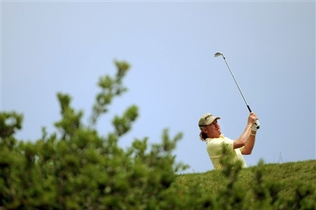 SAN DIEGO - JUNE 15:  Miguel Angel Jimenez of Spain watches his tee shot on the third hole during the final round of the 108th U.S. Open at the Torrey Pines Golf Course (South Course) on June 15, 2008 in San Diego, California.  (Photo by Doug Pensinger/Getty Images)