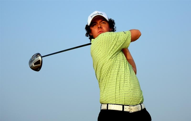 ABU DHABI, UNITED ARAB EMIRATES - JANUARY 13:  Rory McIlroy of Northern Ireland in action during practice for The Abu Dhabi Golf Championship at Abu Dhabi Golf Club on January 13, 2009 in Abu Dhabi.  (Photo by Andrew Redington/Getty Images)