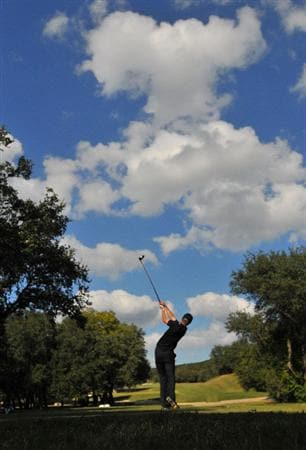 SAN ANTONIO - OCTOBER 11: Matt Jones tees off the 15th hole during the third round of the Valero Texas Open  held at La Cantera Golf Club on October 11, 2008 in San Antonio, Texas  (Photo by Marc Feldman/Getty Images)