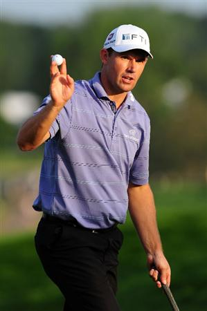 CHASKA, MN - AUGUST 14:  Padraig Harrington of Ireland waves to the gallery on the 18th green during the second round of the 91st PGA Championship at Hazeltine National Golf Club on August 14, 2009 in Chaska, Minnesota.  (Photo by Stuart Franklin/Getty Images)