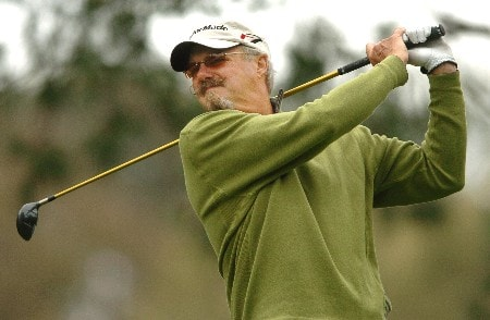 Gary McCord tees off from the 11th hole during the second round of the Champions' Tour 2005 Toshiba Senior Classic at  the Newport Beach Country Club in Newport Beach, California March 19, 2005.