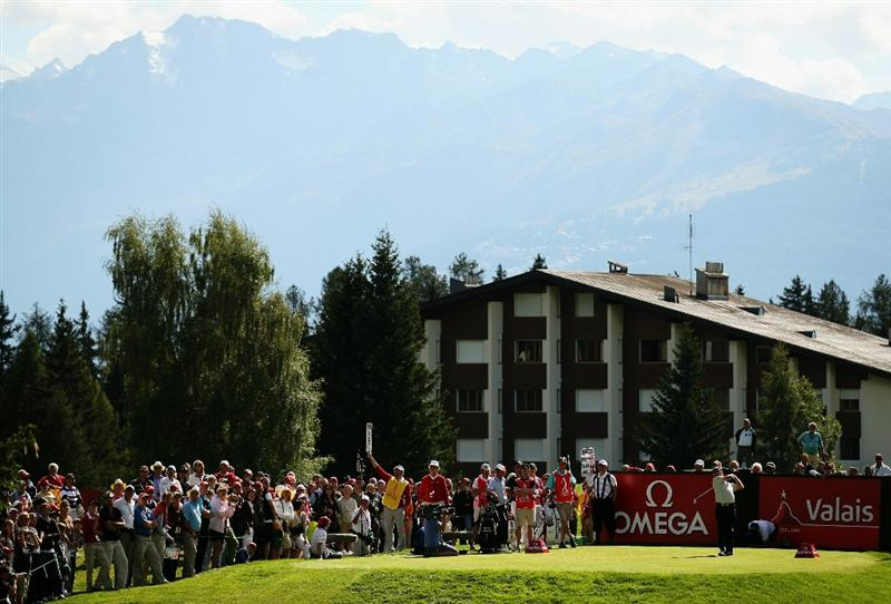 CRANS, SWITZERLAND - SEPTEMBER 04:  Miguel Angel Jimenez of Spain tees off on the 16th hole during the third round of The Omega European Masters at Crans-Sur-Sierre Golf Club on September 4, 2010 in Crans Montana, Switzerland.  (Photo by Warren Little/Getty Images)