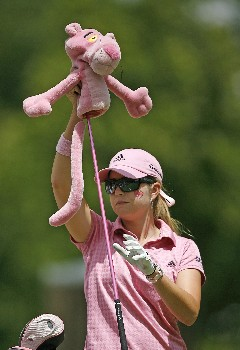 SYLVANIA, OH - JULY 13:  Paula Creamer takes her Pink Panther headcover off of her rescue wood during the second round of the Jamie Farr Owens Corning Classic July 13, 2007 in Sylvania, Ohio.  (Photo by Hunter Martin/Getty Images)