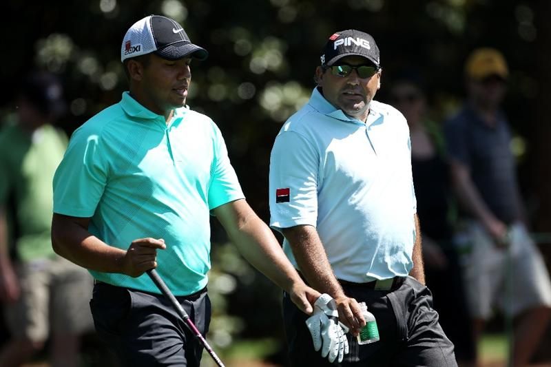 AUGUSTA, GA - APRIL 04:  Jhonattan Vegas of Venezuela walks with Angel Cabrera of Argentina during a practice round prior to the 2011 Masters Tournament at Augusta National Golf Club on April 4, 2011 in Augusta, Georgia.  (Photo by Andrew Redington/Getty Images)