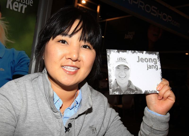 ORLANDO, FL - JANUARY 30:  LPGA player Jeong Jang of South Korea signs autographs for fans at the 2009 PGA Merchandise Show at the Orange County Convertion Center on January 30, 2009 in Orlando, Florida.  (Photo by Scott Halleran/Getty Images)