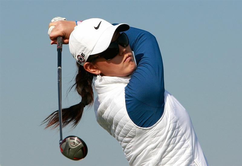 INCHEON, SOUTH KOREA - OCTOBER 30:  Michelle Wie of United States hits a tee shot on the 16th hole during the 2010 LPGA Hana Bank Championship at Sky 72 Golf Club on October 30, 2010 in Incheon, South Korea.  (Photo by Chung Sung-Jun/Getty Images)