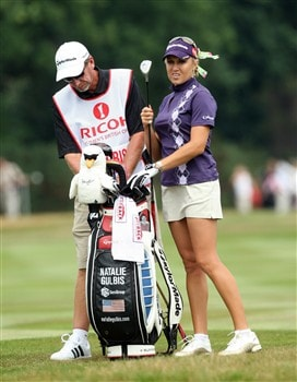SUNNINGDALE, UNITED KINGDOM - JULY 31:  Natalie Gulbis of the USA prepares to hit her second shot at the 1st hole during the first round of the 2008  Ricoh Women's British Open Championship held on the Old Course at Sunningdale Golf Club, on July 31, 2008 in Sunningdale, England.  (Photo by David Cannon/Getty Images)