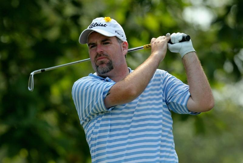 HONG KONG - NOVEMBER 19: Kenneth Ferrie of England watches his tee shot on the 12th hole during day two of the UBS Hong Kong Open at The Hong Kong Golf Club on November 19, 2010 in Hong Kong, Hong Kong.  (Photo by Stanley Chou/Getty Images)