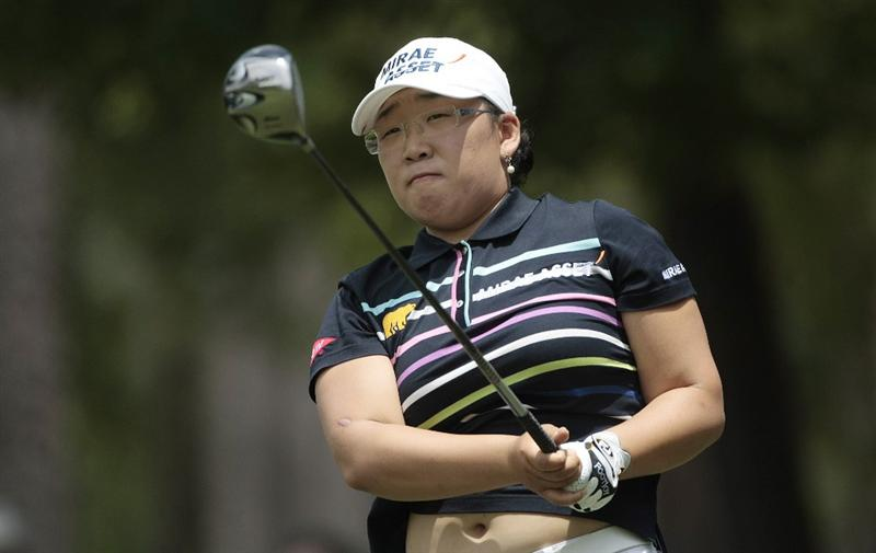 MOBILE, AL - MAY 15:  Jiyai Shin of South Korea hits her drive on the third hole during third round play in the Bell Micro LPGA Classic at the Magnolia Grove Golf Course on May 15, 2010 in Mobile, Alabama.  (Photo by Dave Martin/Getty Images)