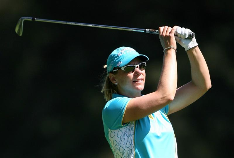 GUADALAJARA, MX - NOVEMBER 15: Annika Sorenstam of Sweden hits her second shot on the 5th hole during the third round of the Lorena Ochoa Invitational at Guadalajara Country Club on November 15, 2008 in Guadalajara, Mexico. (Photo by Hunter Martin/Getty Images)