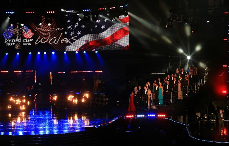 CARDIFF, WALES - SEPTEMBER 29:  The United States Ryder Cup team, led by captain Corey Pavin and his wife Lisa Pavin, enter the stage during Welcome To Wales Concert at Millennium Stadium on September 29, 2010 in Cardiff, Wales.  (Photo by David Cannon/Getty Images)