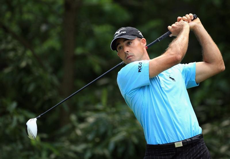 CHARLOTTE, NC - MAY 06:  Jonathan Byrd hits his drive on the 12th hole  during the second round of the Wells Fargo Championship at Quail Hollow Club on May 6, 2011 in Charlotte, North Carolina.  (Photo by Streeter Lecka/Getty Images)