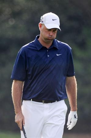 AUGUSTA, GA - APRIL 07:  Stewart Cink reacts during a practice round prior to the 2010 Masters Tournament at Augusta National Golf Club on April 7, 2010 in Augusta, Georgia.  (Photo by Harry How/Getty Images)