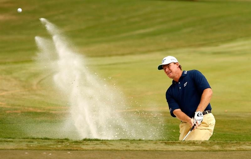 ATLANTA - SEPTEMBER 26:  Ernie Els of South Africa hits a shot from the sand on the 3rd hole during the second round of THE TOUR Championship presented by Coca-Cola, at East Lake Golf Club on September 26, 2008 in Atlanta, Georgia. This is the final event of the PGA TOUR Playoffs for the FedExCup.  (Photo by Streeter Lecka/Getty Images)