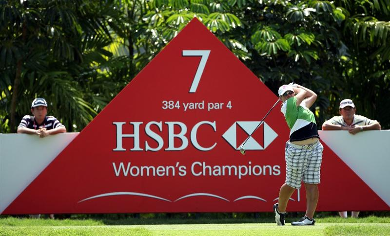 SINGAPORE - FEBRUARY 26:  Karen Stupples of England in action during the third round of the HSBC Women's Champions at the Tanah Merah Country Club on February 26, 2011 in Singapore.  (Photo by Andrew Redington/Getty Images)