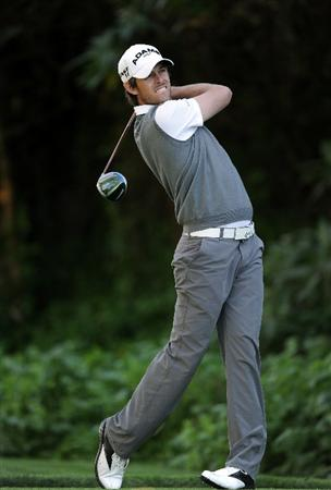 PACIFIC PALISADES, CA - FEBRUARY 17:  Aaron Baddeley of Australia hits a tee shot on the 12th hole during the first round of the Northern Trust Open at the Riviera Country Club on February 17, 2011 in Pacific Palisades, California.  (Photo by Harry How/Getty Images)