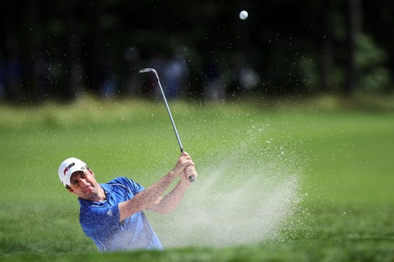 FARMINGDALE, NY - JUNE 17:  Richard Bland of England hits a shot from a bunker during the third day of previews to the 109th U.S. Open on the Black Course at Bethpage State Park on June 17, 2009 in Farmingdale, New York.  (Photo by Ross Kinnaird/Getty Images)