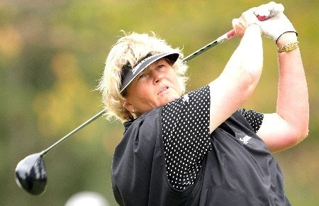 SHIMA, JAPAN - NOVEMBER 02: Laura Davies of England watches her tee shot on the 14th hole during the first round of LPGA Mizuno Classic at Kintetsu Kashikojima Country Club on November 2, 2007 in Shima, Japan. Mizuno Classic is the only LPGA tour tournament in Japan. (Photo by Koichi Kamoshida/Getty Images)