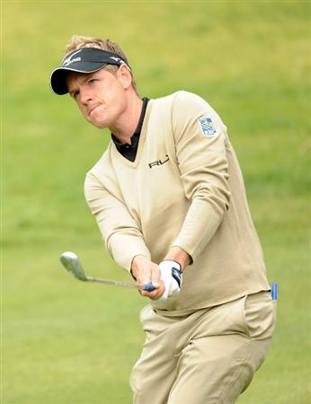 PACIFIC PALISADES, CA - FEBRUARY 18:  Luke Donald of England plays a shot off the seventh green during the second round of the Northern Trust Open at the Riviera Country Club on February 18, 2011 in Pacific Palisades, California.  (Photo by Harry How/Getty Images)