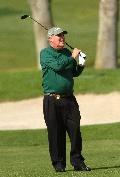 John Bland watches his approach shot to the 18th green  during the second round of the Champions' Tour 2005 Toshiba Senior Classic at  the Newport Beach Country Club in Newport Beach, California March 19, 2005.