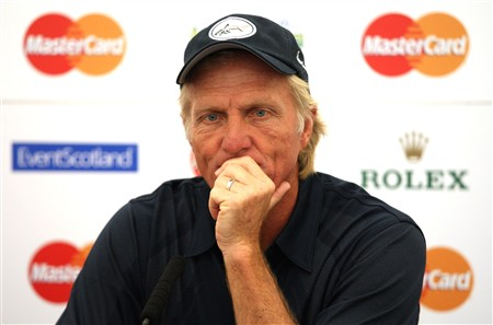 TROON, UNITED KINGDOM - JULY 23:  Greg Norman of Australia speaks during his press conference prior to the Senior Open Championships at Royal Troon on July 23,2008 in Troon,Scotland.  (Photo by Ross Kinnaird/Getty Images)