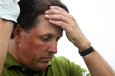 SAN DIEGO - JUNE 13:  Phil Mickelson walks off a tee box during the second round of the 108th U.S. Open at the Torrey Pines Golf Course (South Course) on June 13, 2008 in San Diego, California.  (Photo by Donald Miralle/Getty Images)