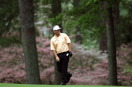 AUGUSTA, GA - APRIL 12:  Sandy Lyle of Scotland hits a shot on the second hole during the third round of the 2008 Masters Tournament at Augusta National Golf Club on April 12, 2008 in Augusta, Georgia.  (Photo by David Cannon/Getty Images)