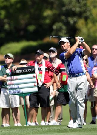 ORLANDO, FL - MARCH 14:  Graeme McDowell of Northern Ireland plays a shot on the 7th hole during the first day of the Tavistock Cup at Isleworth Golf and Country Club on March 14, 2011 in Orlando, Florida.  (Photo by Sam Greenwood/Getty Images)