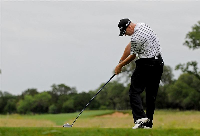 SAN ANTONIO, TX - MAY 15:  Steve Flesch tees off the 6th hole during the second round of the Valero Texas Open at the TPC San Antonio on May 15, 2010 in San Antonio, Texas. (Photo by Marc Feldman/Getty Images)