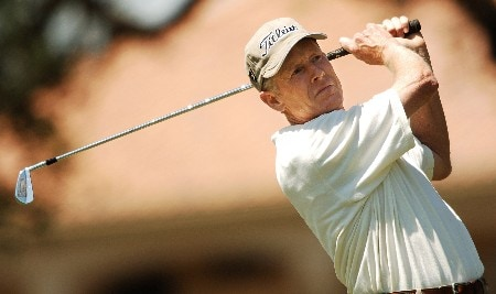 Mike Reid hits from the 11th tee during the final round of the 2005 FedEx Kinko's Classic at the Hills Country Club in Austin, Texas May 1, 2005.Photo by Steve Grayson/WireImage.com
