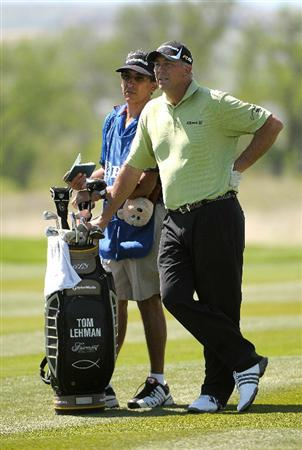 PARKER, CO - MAY 27:   Tom Lehman waits to hit his second shot to the  3rd hole  during the first round of the Senior PGA Championship at the Colorado Golf Club  on May 27, 2010 in Parker, Colorado.  (Photo by Marc Feldman/Getty Images)