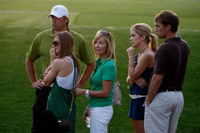 AUGUSTA, GA - APRIL 12:  Sandy Perry, wife of Kenny Perry, and her family watch the play during the sudden death playoffduring the final round of the 2009 Masters Tournament at Augusta National Golf Club on April 12, 2009 in Augusta, Georgia.  (Photo by Jamie Squire/Getty Images)