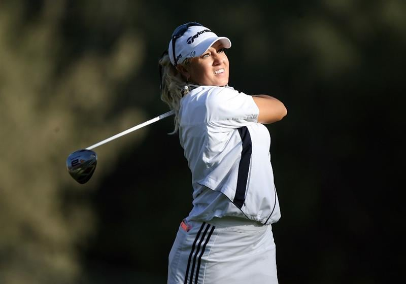KAHUKU, HI - FEBRUARY 12:  Natalie Gulbis hits her tee shot on the 16th hole during the first round of the SBS Open on February 12, 2009  at the Turtle Bay Resort in Kahuku, Hawaii.  (Photo by Andy Lyons/Getty Images)