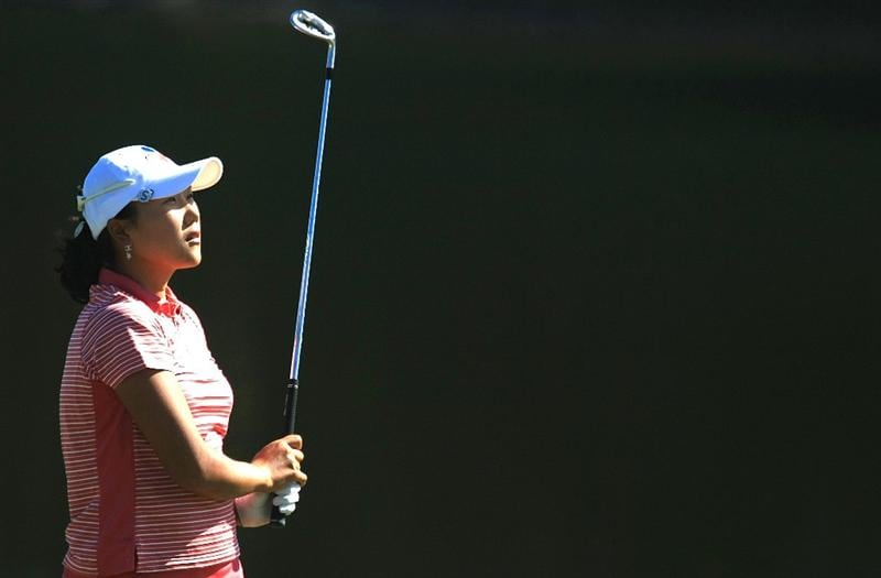 WEST PALM BEACH, FL - NOVEMBER 20:  Seon Hwa Lee of South Korea hits her approach shot on the ninth hole during the first round of the ADT Championship at the Trump International Golf Club on November 20, 2008 in West Palm Beach, Florida.  (Photo by Scott Halleran/Getty Images)