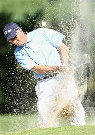CONOVER, NC - OCTOBER 01: John Ross chips from the bunker onto the 18th hole green during the first round of the Ensure Classic at the Rock Barn Golf & Spa on October 1, 2010 in Conover, North Carolina.  (Photo by Christian Petersen/Getty Images)