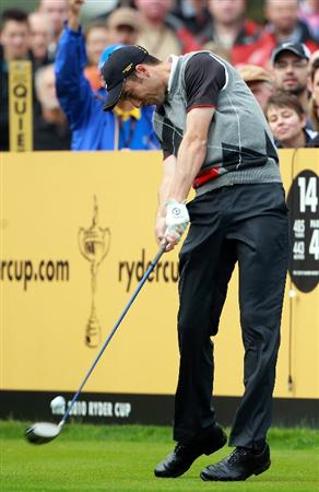 NEWPORT, WALES - SEPTEMBER 28:  Ross Fisher of Europe tees off during a practice round prior to the 2010 Ryder Cup at the Celtic Manor Resort on September 28, 2010 in Newport, Wales. (Photo by Scott Halleran/Getty Images)