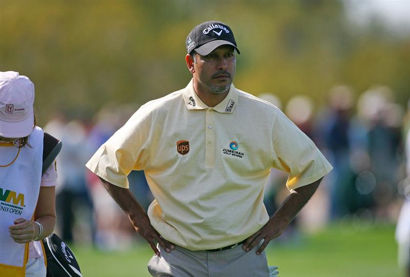 SCOTTSDALE, AZ - FEBRUARY 25: Jeev Milkha Singh of India waits to hit his third shot on the 15th hole during the first round of the Waste Management Phoenix Open at TPC Scottsdale on February 25, 2010 in Scottsdale, Arizona. (Photo by Hunter Martin/Getty Images)