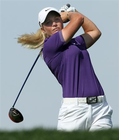 RANCHO MIRAGE, CA - APRIL 03:  Suzann Pettersen of Norway hits her tee shot on the 11th hole during the third round of the Kraft Nabisco Championship at Mission Hills Country Club on April 3, 2010 in Rancho Mirage, California.  (Photo by Stephen Dunn/Getty Images)