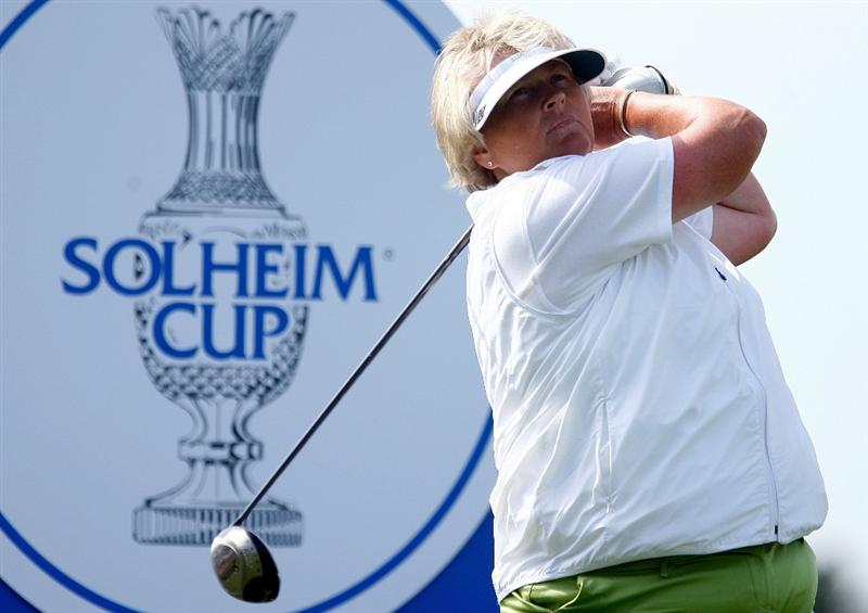 SUGAR GROVE, IL - AUGUST 19:  Laura Davies of the European Team hits a shot during a practice round prior to the start of the 2009 Solheim Cup at Rich Harvest Farms on August 19, 2009 in Sugar Grove, Illinois.  (Photo by Scott Halleran/Getty Images)