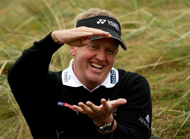 CARNOUSTIE, SCOTLAND - OCTOBER 09:  Colin Montgomerie of Scotland shares a joke with fellow players as he waits to play on the sixth tee during the third round of The Alfred Dunhill Links Championship at the Carnoustie Golf Links on October 9, 2010 in Carnoustie, Scotland.  (Photo by Andrew Redington/Getty Images)