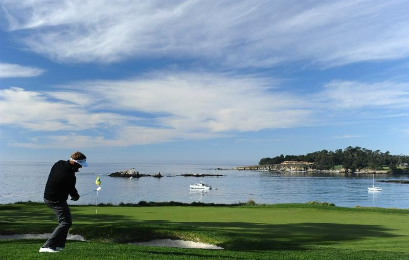 PEBBLE BEACH, CA - FEBRUARY 13: Stuart Appleby of Australia plays his chip shot on the fifth hole during the final round of the AT&T Pebble Beach National Pro-Am at Pebble Beach Golf Links on February 13, 2011  in Pebble Beach, California.  (Photo by Stuart Franklin/Getty Images)