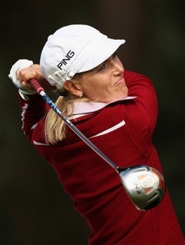 SUNNINGDALE, UNITED KINGDOM - AUGUST 01:  Carin Koch of Sweden tees off on the 12th hole during the second round of the 2008 Ricoh Women's British Open held on the Old Course at Sunningdale Golf Club on August 1, 2008 in Sunningdale, England.  (Photo by Warren Little/Getty Images)