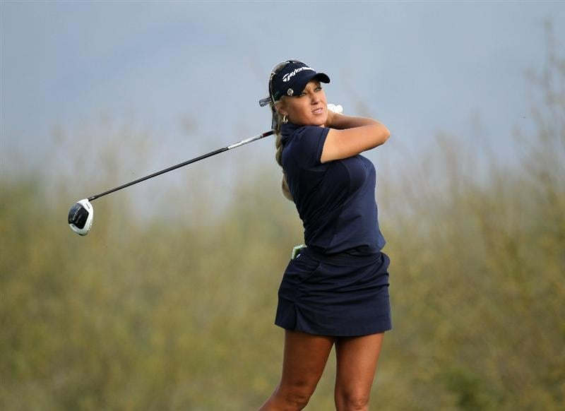 PHOENIX, AZ - MARCH 18:  Natalie Gulbis hits her tee shot on the 18th hole during the first round of the RR Donnelley LPGA Founders Cup at Wildfire Golf Club on March 18, 2011 in Phoenix, Arizona.  (Photo by Stephen Dunn/Getty Images)