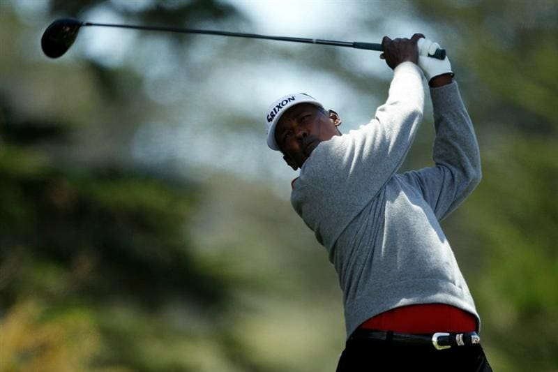 PEBBLE BEACH, CA - JUNE 19:  Vijay Singh of Fiji hits  hits his tee shot on the second hole during the third round of the 110th U.S. Open at Pebble Beach Golf Links on June 19, 2010 in Pebble Beach, California.  (Photo by Donald Miralle/Getty Images)