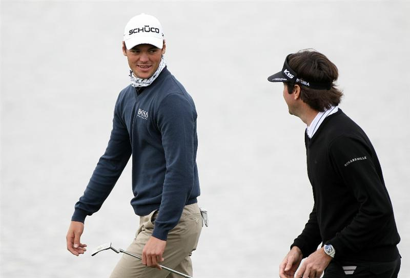 MARANA, AZ - FEBRUARY 26:  Martin Kaymer of Germany (L) and Bubba Watson (R) walk up the third hole during the semifinal round of the Accenture Match Play Championship at the Ritz-Carlton Golf Club on February 26, 2011 in Marana, Arizona.  (Photo by Sam Greenwood/Getty Images)