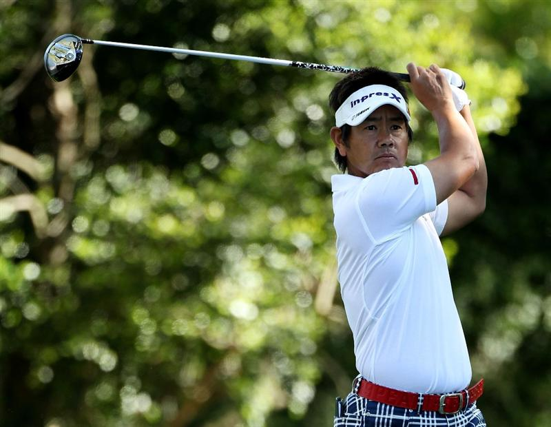 AUGUSTA, GA - APRIL 07:  Hiroyuki Fujita of Japan hits his tee shot on the second tee during the first round of the 2011 Masters Tournament at Augusta National Golf Club on April 7, 2011 in Augusta, Georgia.  (Photo by Andrew Redington/Getty Images)