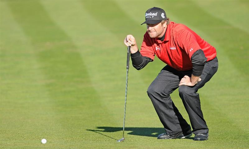 PEBBLE BEACH, CA - FEBRUARY 11:  Steve Marino lines up his putt on the eighth during the second round of the AT&T Pebble Beach National Pro-Am at the Pebble Beach Golf Links on February 11, 2011  in Pebble Beach, California  (Photo by Stuart Franklin/Getty Images)