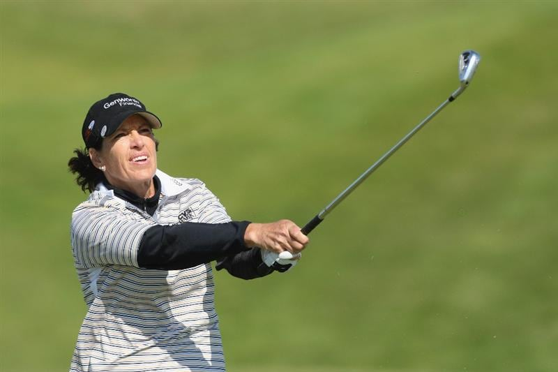 LYTHAM ST ANNES, ENGLAND - JULY 30:  Juli Inkster of USA hits her third shot on the 15th hole during the first round of the 2009 Ricoh Women's British Open Championship held at Royal Lytham St Annes Golf Club, on July 30, 2009 in  Lytham St Annes, England.  (Photo by David Cannon/Getty Images)