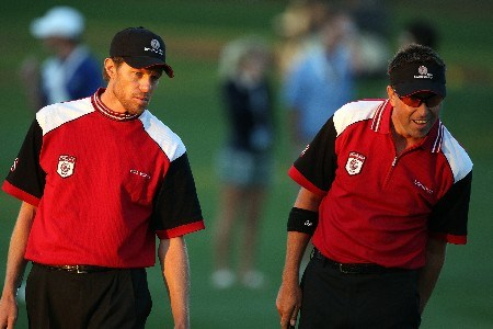 ORLANDO, FL - MARCH 24:  Robert Allenby (R) and Nick O'Hern, both of the Isleworth team, walk on the 18th green during the first day's play of the Tavistock Cup at Isleworth Golf and Country Club March 24, 2008 in Orlando, Florida.  (Photo by David Cannon/Getty Images)