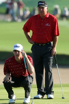 CHAMPIONS GATE, FLORIDA - DECEMBER 02:  Shaun O'Meara and his father Mark O'Meara play the 1st hole during the final round of the 2007 Del Webb Father Son Challenge on the International Course at Champions Gate Golf Club, on December 2, 2007 in Champions Gate, Florida,  (Photo by David Cannon/Getty Images)